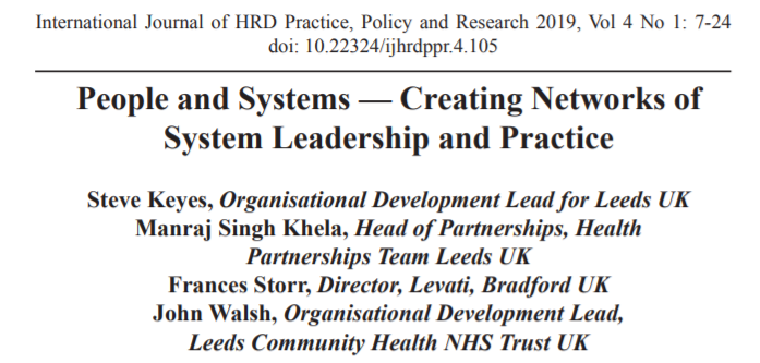 People And Systems – Creating Networks Of System Leadership And Practice